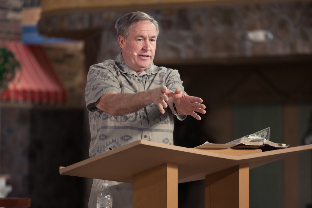 John Shorey speaks during a survival seminar on Grace Street on Wednesday morning. Photo: Austin Metcalf